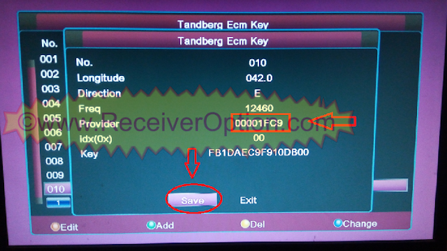 HOW TO ADD MANUALLY TANDBERG KEY ALI3510C HD RECEIVER