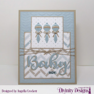 Stamp_Die Duos_ Bless This Baby Custom Dies_ Sentiment Strips_ Baby Blessings_ Pierced Rectangles_ Pierced Squares_ Paper Collection_ Baby Boy_ Mixed Media Stencil_ Arrows