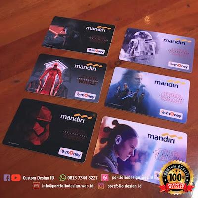 Hasil cetak kualitas custom kartu e-money Mandiri B