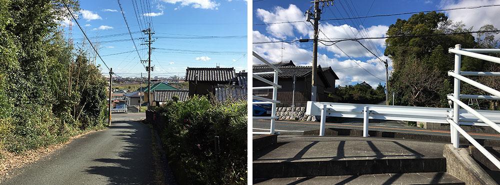 山際に沿ってなだらかに登る新道に分断されるうとう坂は東西に姫街道を真っ直ぐ登っている(2015年11月27日撮影)