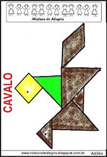 tangram desenho de cavalinho