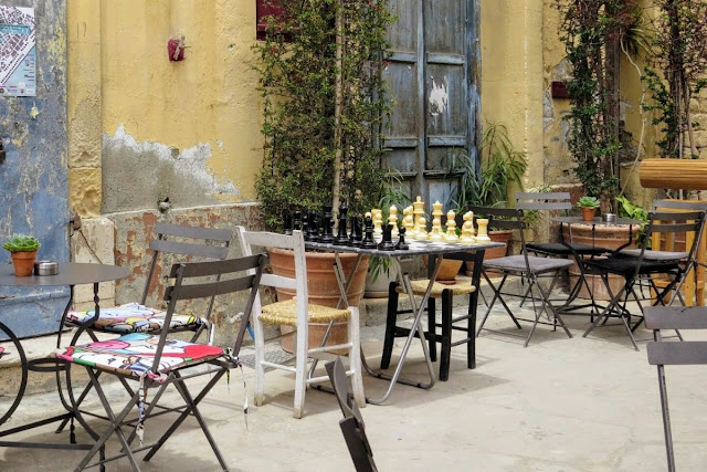 Outdoor chess set in Larnaca Cyprus