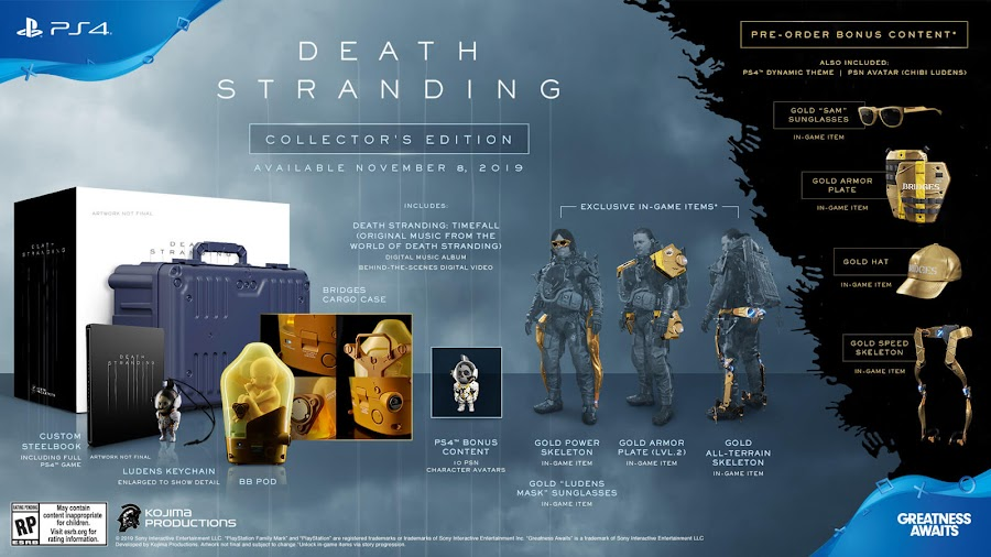 death stranding collector's edition ps4 exclusive kojima productions