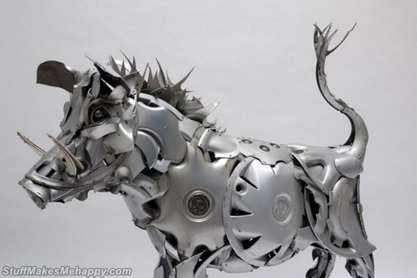 Stunning Sculptures Made out Hubcaps by Ptolemy Elrington