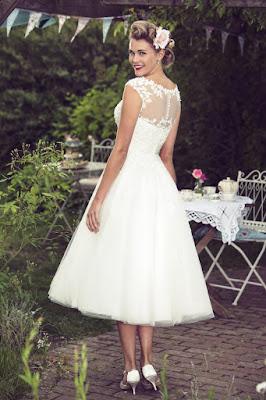 Vintage Calf Length short Gown white color back side