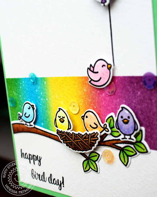 Sunny Studio Stamps: A Bird's Life Rainbow Birdies Happy Day Card by Vanessa Menhorn