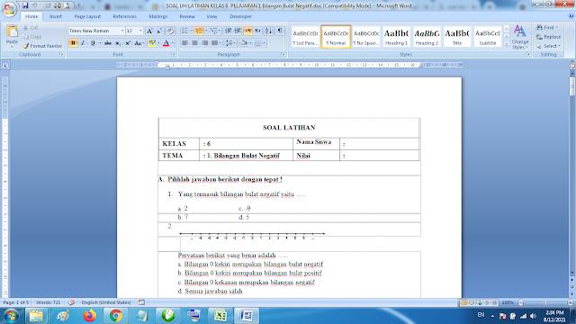 Soal Matematika Kelas 6 Bilangan Bulat Negatif dan Kunci Jawaban K13