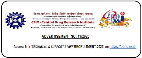 CDRI Technical Support Staff Recruitment 2021