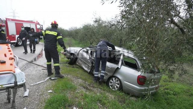 Τροχαίο ατύχημα στον παράδρομο της Ανθήλης -απεγκλωβίστηκε ο οδηγός από την ΕΜΑΚ