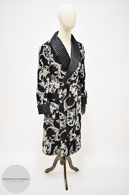 mens black paisley silk robe quilted dressing gown warm heavy long vintage style housecoat