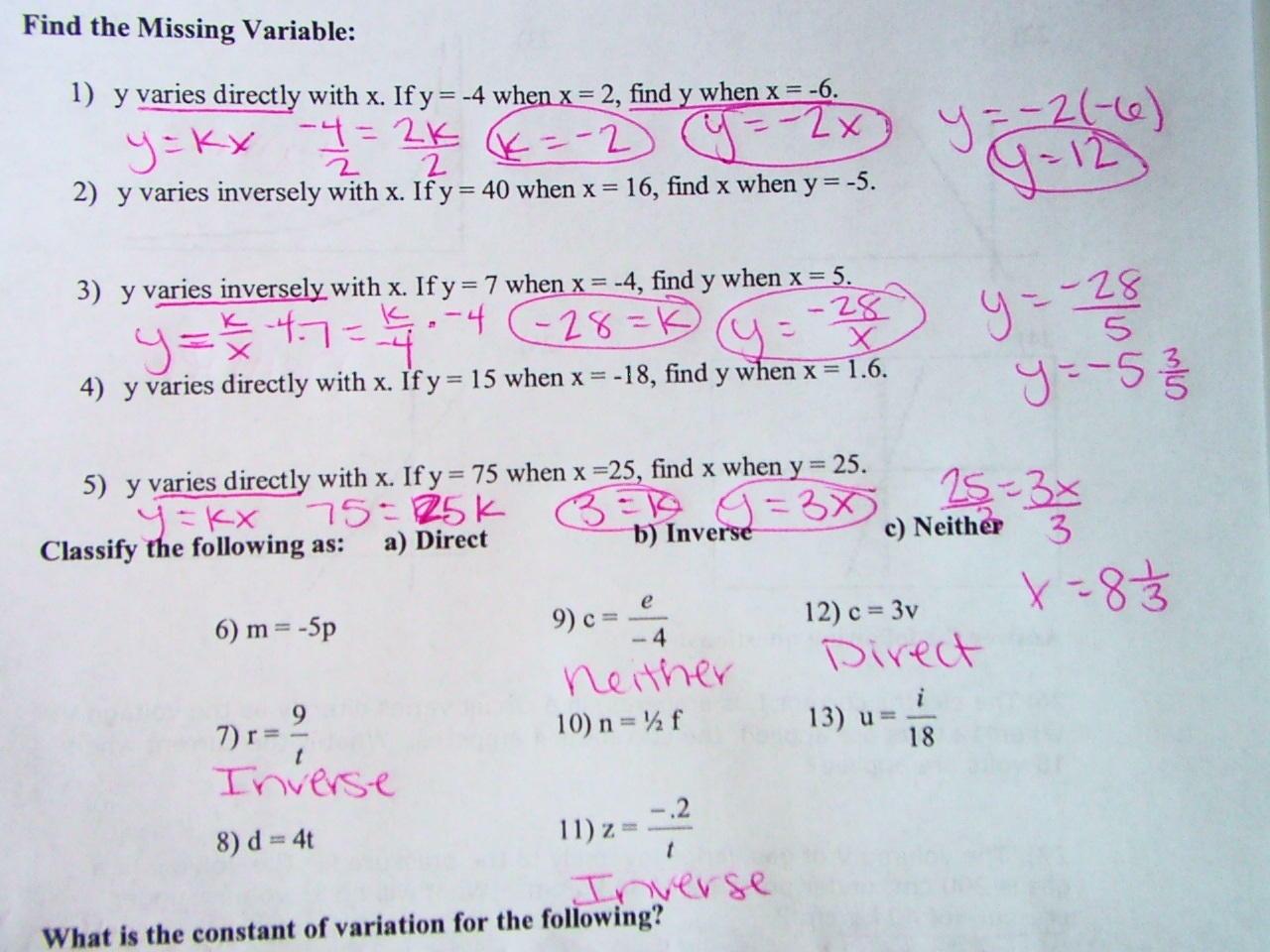 Mrs Davis Math Class Homework Direct And Inverse Variation