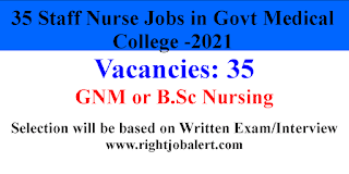 35 Staff Nurse Jobs in Govt Medical College Chhindwara