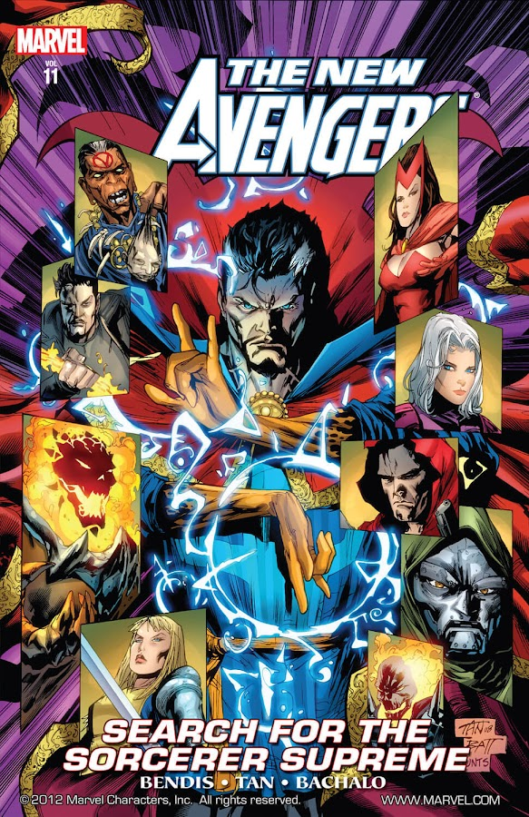 new avengers search for sorcerer supreme marvel comics doctor strange stephen strange clea doctor doom dormammu scarlet witch wanda maximoff hood parker robbins brother voodoo jericho drumm ghost rider johnny blaze magik illyana rasputina brian michael bendis billy tan chris Bachalo