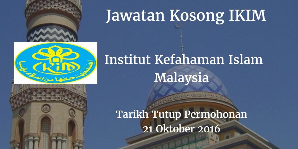 Jawatan Kosong IKIM 21 Oktober 2016