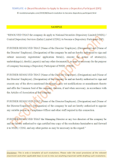 Board Resolution to Apply to Become a Depository Participant DP