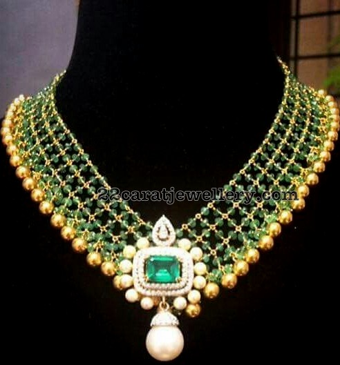 Emerald Round Beads and Drops Necklaces