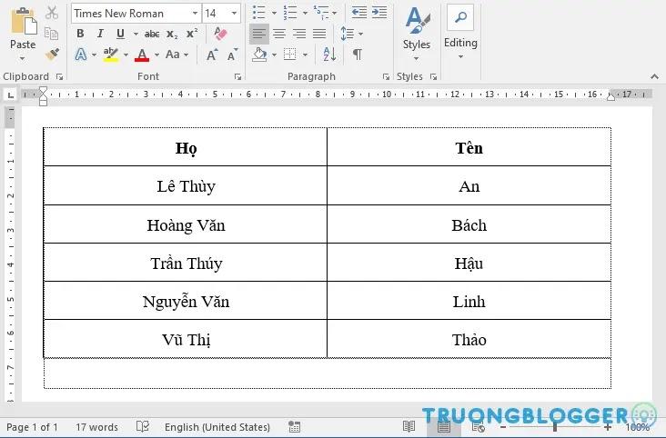 Sắp xếp danh sách theo thứ tự bảng chữ cái trong Word