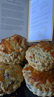 Red pepper, cheese, onion scones