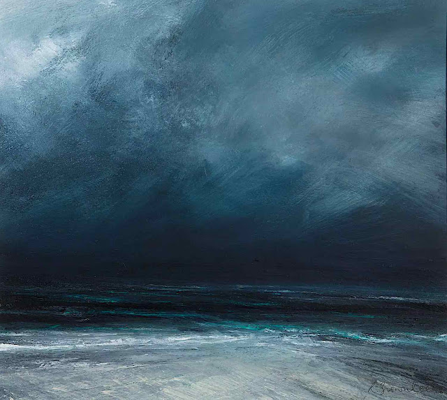 a Ruth Brownlee painting of a dark stormy beach