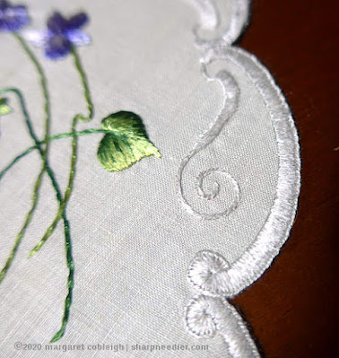 Society Silk Violets: Detail of edge embroidery after washing and ironing