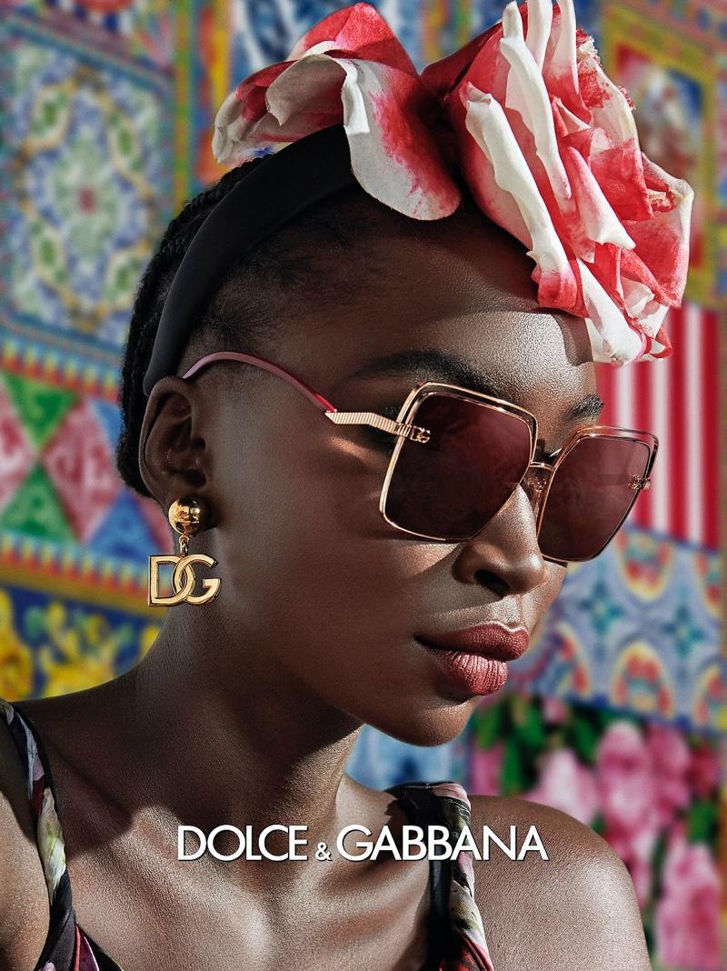 Diarra Ndiaye poses for Dolce & Gabbana Eyewear spring-summer 2021 campaign.