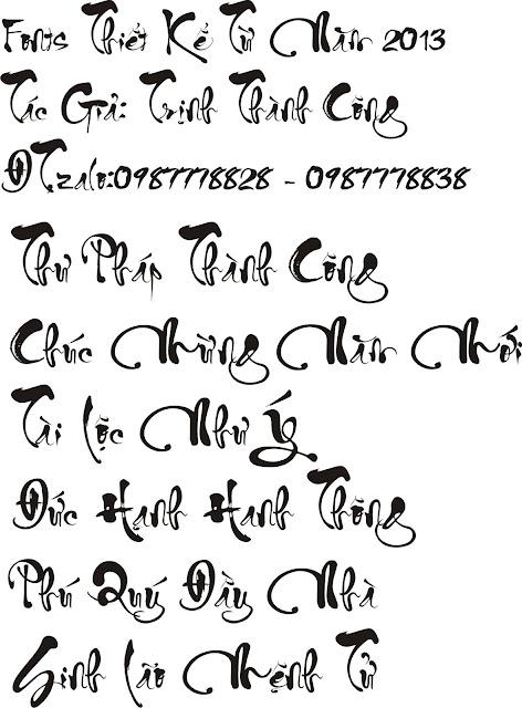 Chia sẻ Bộ Fonts Thư Pháp Thành Công