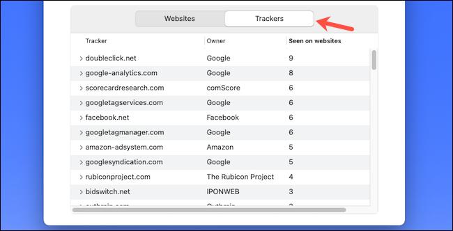 تحقق من قائمة تعقب الويب على Safari