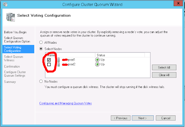 Cluster Quorum Configuration - Managing Quorum voting and configuration