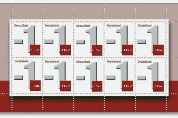 Der Postillon Minus Ein Cent Ergänzungsmarke Deutsche Post Führt