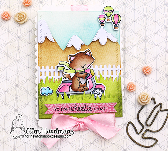 You're Wheelie Great - Cat on Scooter card by Ellen Haxelmans | Newton Scoots By Stamp Set by Newton's Nook Designs #newtonsnook