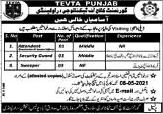 Latest Jobs in Punjab Technical Education And Vocational Training Authority TEVTA 2021 ;