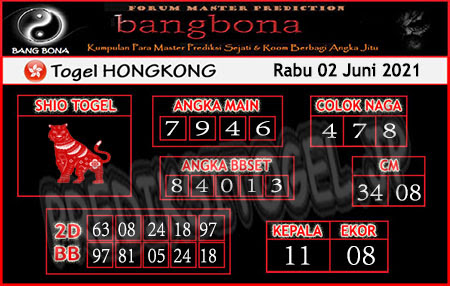 Prediksi Bangbona HK Rabu 02 Juni 2021