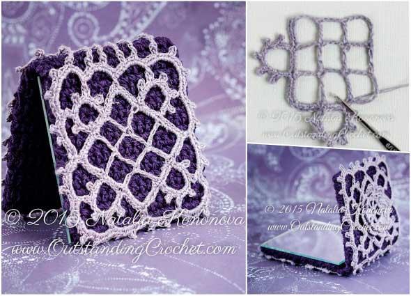 espejos, bolsos, femeninos, accesorios, crochet, patrón