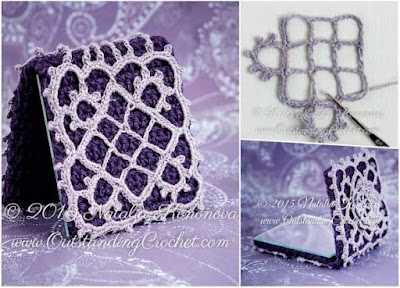 Funda para espejo femenino a crochet