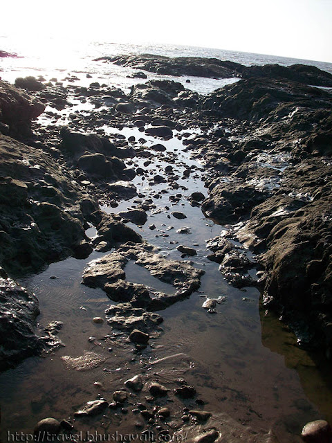 Rocky beach & creeks in Manori beach, Mumbai