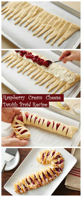 Delicious #Raspberry Cream Cheese Danish Braid #Recipe #dessert