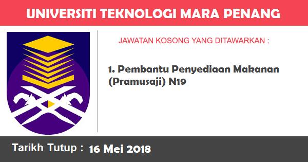 Job in Universiti Teknologi MARA (UiTM) Penang (16 Mei 2018)