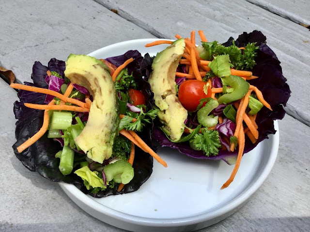 raw vegetables and wraps