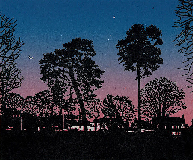 a Joseph Winkelman art print of a neighborhood in silhouette with a purple sky