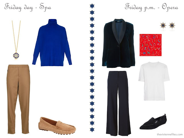royal blue turtleneck and camel pants, navy womens tuxedo