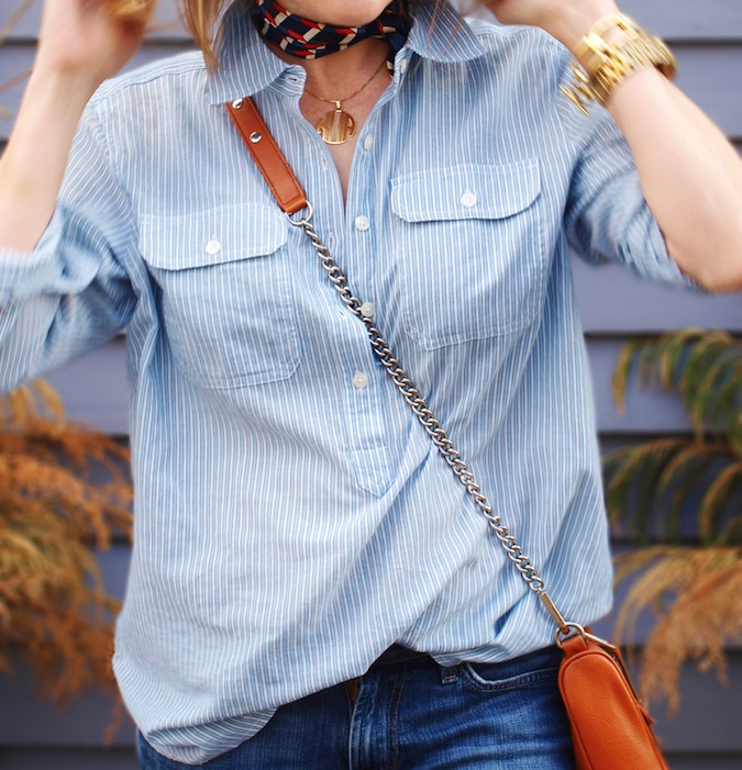 Chaps Striped Work Shirt
