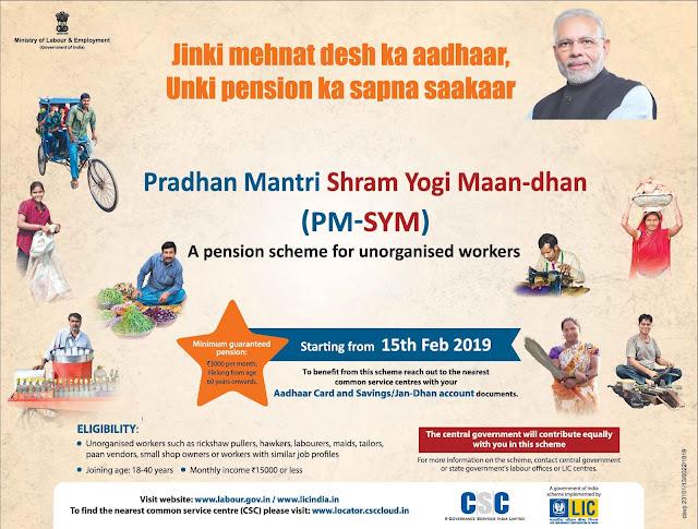 PMSYM-Pradhan Mantri Shram Yogi Maan-Dhan Yojana