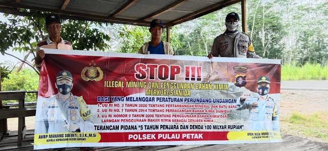 Sambangi Warga, Polsek Pulau Petak Sosialisasikan Ilegal Mining