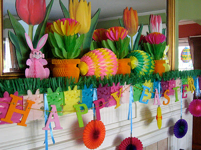 Easter decor, Easter decorations, paper flowers