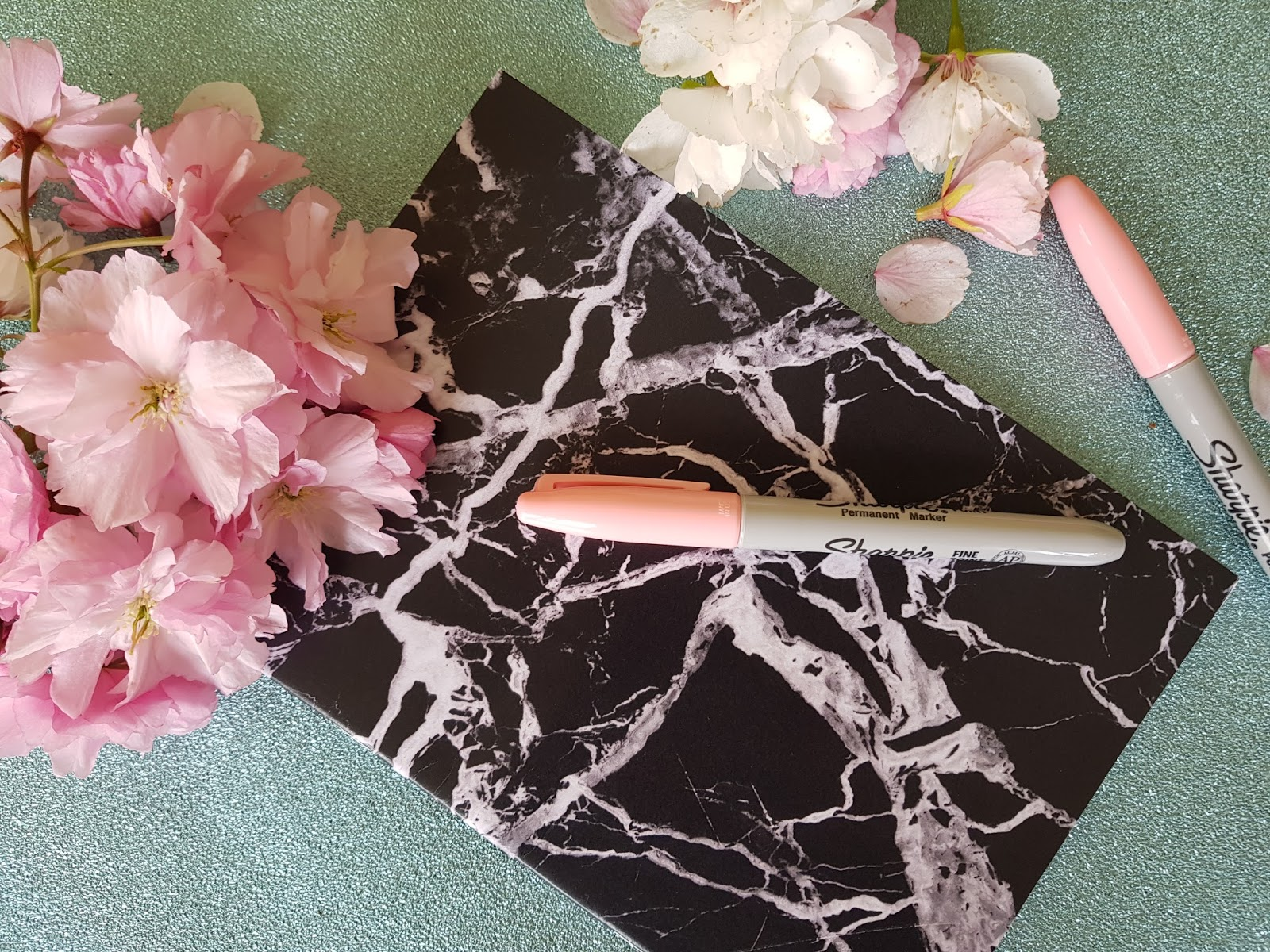 coconut lane black marble notebook