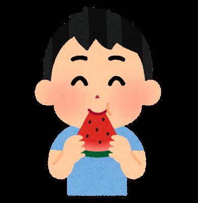スイカを食べる人のイラスト(男の子)