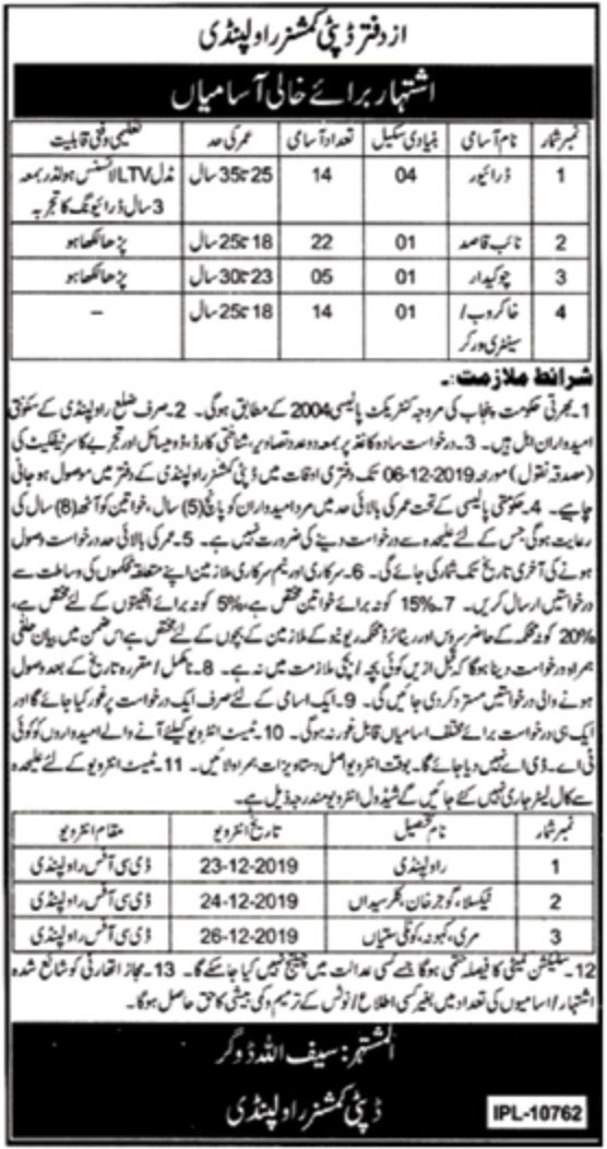 Jobs in Deputy Commissioner Office Rawalpindi