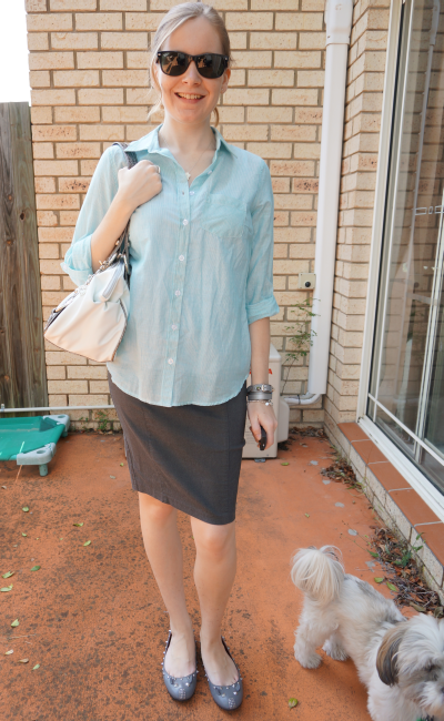Away From Blue rolled sleeve shirt over pencil skirt untucked office wear