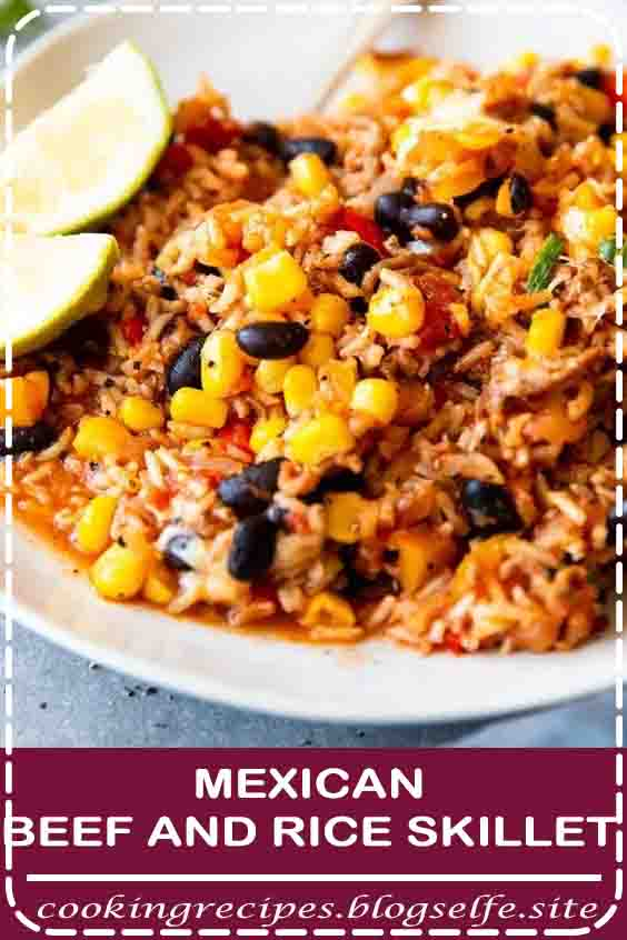 4.8 ★★★★★ | Ever ask yourself what to make with ground beef and rice? This Mexican Beef and Rice Skillet is your answer: An easy weeknight dinner, all cooked in one pot! Less dishes to wash is always a win #casserole #ground beef #weeknight meals