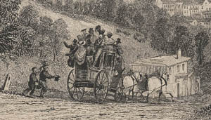 The stagecoach lurching down Pennsylvania Hill